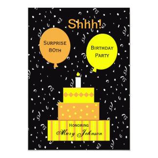 "Surprise 80th Birthday Party Invitation 5"" X 7"" Invitation Card"