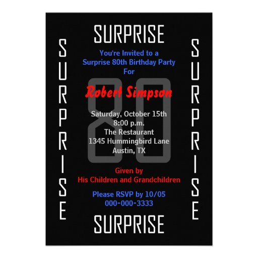 Surprise 80th Birthday Party Invitation - 80 Cards