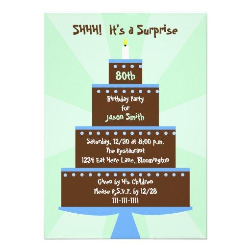 Surprise 80th Birthday Party Invitation -- Cake Invitation