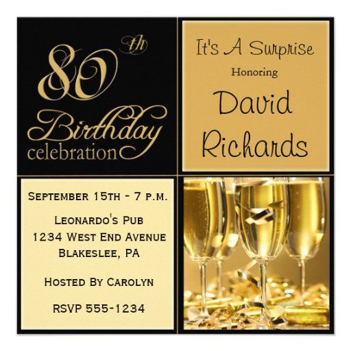 Surprise 80th Birthday Party Invitations (front side)