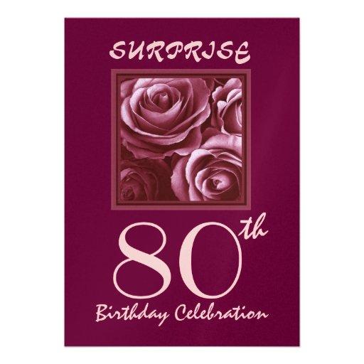SURPRISE 80th Birthday Party Invite Purple Roses