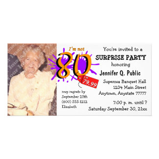 Surprise 80th Birthday Party Photo Invitation