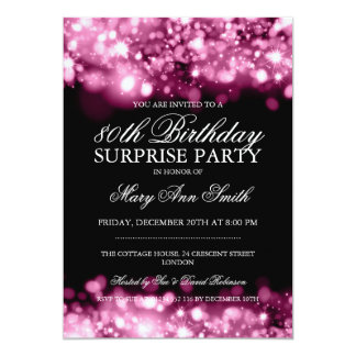 Surprise 80th Birthday Party Pink Sparkling Lights Card