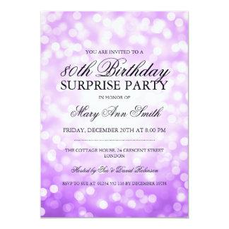 Surprise 80th Birthday Party Purple Glitter Lights Card