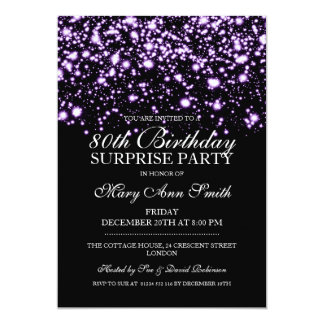 Surprise 80th Birthday Party Purple Midnight Glam Card