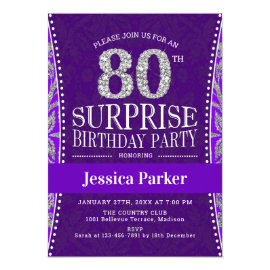 Surprise 80th Birthday Party - Silver Purple Invitation