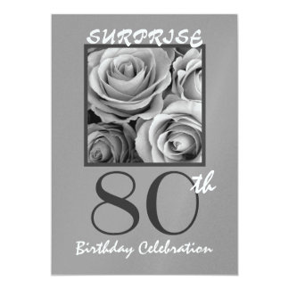 SURPRISE 80th Birthday Party Silver Roses Card