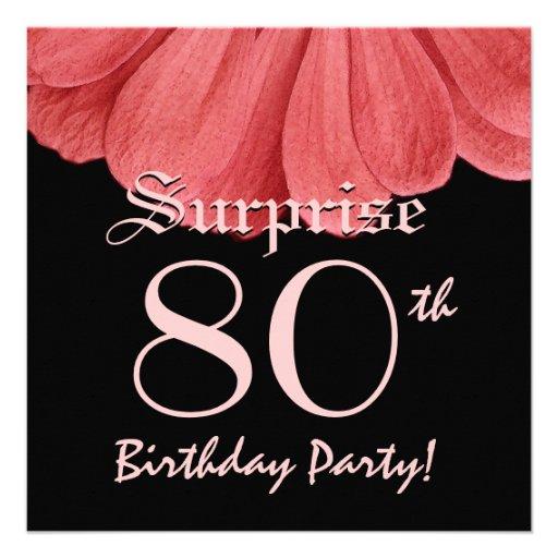 SURPRISE 80th Birthday Peach Flower Z306 Custom Invitations