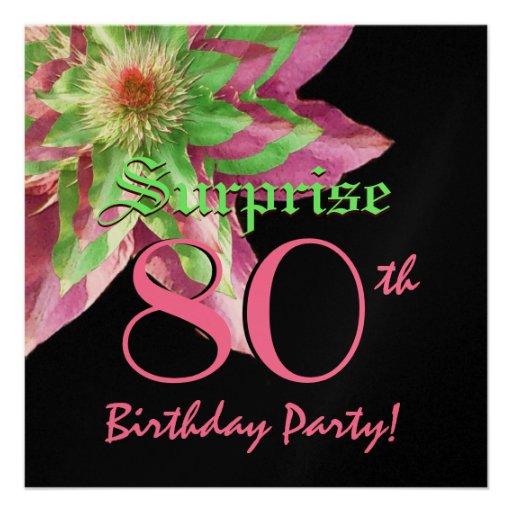 SURPRISE 80th Birthday Pink Green Flower W1445 Custom Invite