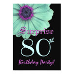 SURPRISE 80th Birthday Template Green Purple Daisy 5x7 Paper Invitation Card