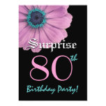 SURPRISE 80th Birthday Template Pink Daisy 5x7 Paper Invitation Card
