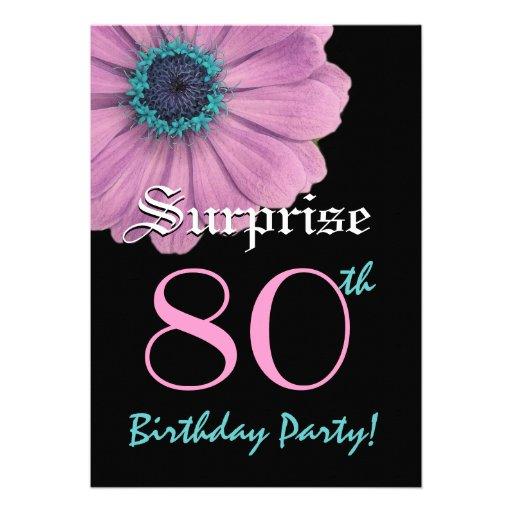 SURPRISE 80th Birthday Template Pink Daisy Invite