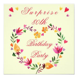Surprise 80th Birthday Watercolor Floral Heart 5.25x5.25 Square Paper Invitation Card
