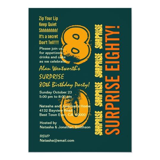 SURPRISE 80th Modern Birthday Green Gold W088 Card
