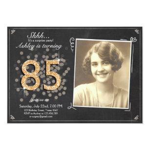 Surprise 85th Birthday Invite Chalkboard Vintage