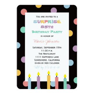 Surprise 85th Birthday Party with Five Candles Card
