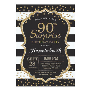 Surprise 90th Birthday Invitation Gold Glitter
