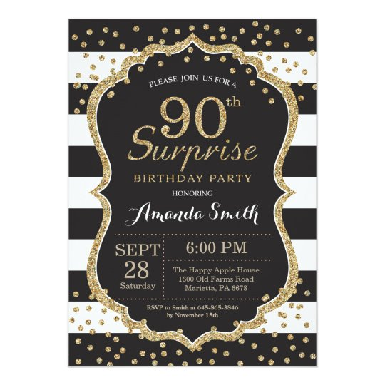 Surprise 90th Birthday Invitation Gold Glitter