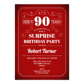Surprise 90th Birthday Invitation - Red White