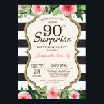 "Surprise 90th Birthday Invitation Women Floral<br><div class=""desc"">Surprise 90th Birthday Invitation for women. Black and Gold Birthday Party Invite. Gold Glitter. Pink Watercolor Floral Flower. Black and White Stripes. Printable Digital. For further customization,  please click the ""Customize it"" button and use our design tool to modify this template.</div>"