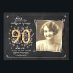 """Surprise 90th birthday invite Chalkboard vintage<br><div class=""""desc"""">♥ A perfect way to invite your guests to this special birthday party! For a 90th birthday party. Check out the collection for other ages!</div>"""