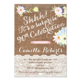 surprise 90th birthday invites, surprise party card