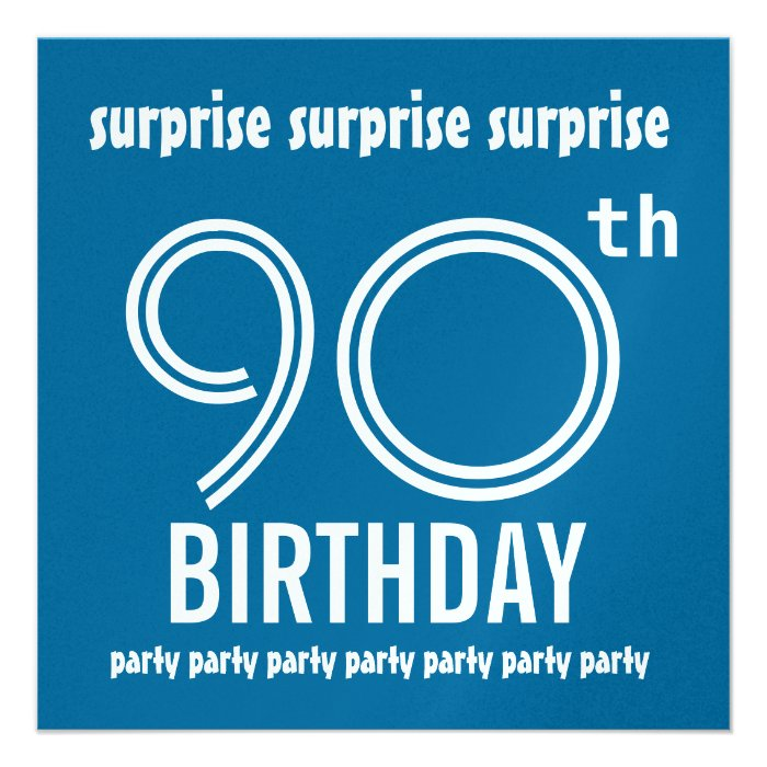SURPRISE 90th Birthday Party Blue And White W215 Custom Announcements