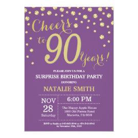 Surprise 90th Birthday Purple and Gold Diamond Invitation
