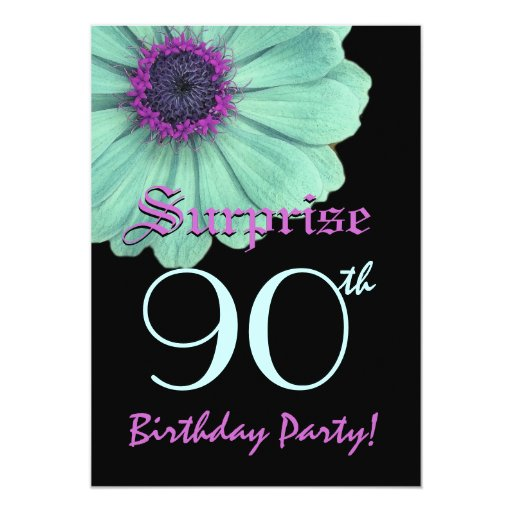 surprise 90th birthday template green purple daisy card zazzle. Black Bedroom Furniture Sets. Home Design Ideas