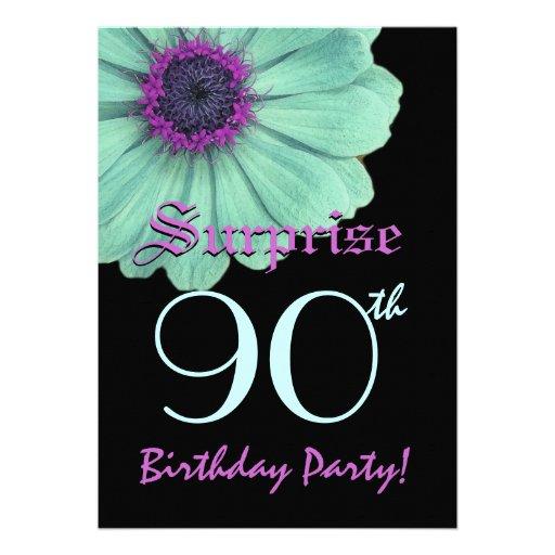 SURPRISE 90th Birthday Template Green Purple Daisy Personalized Invite