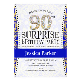 Surprise 90th Birthday - White Gold Royal Blue Invitation