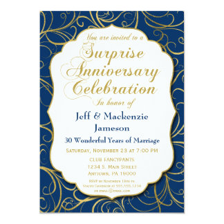Surprise Anniversary Invitation Navy Gold Swirl