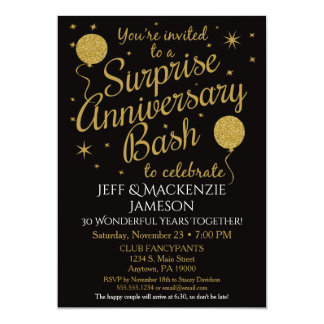 Surprise Anniversary Invitation Party Black Gold