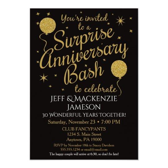 Surprise anniversary invitation party black gold zazzle surprise anniversary invitation party black gold stopboris Gallery