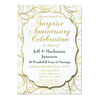 Surprise Anniversary Invitation White Gold Swirl
