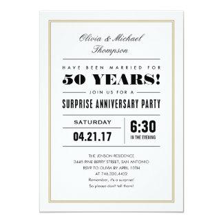 Surprise Anniversary Invitations - Gold Frame