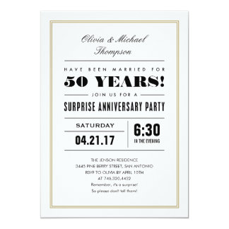 Surprise Anniversary Invitations   Gold Frame