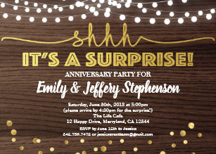 Surprise Anniversary Party Invitation Wood Gold
