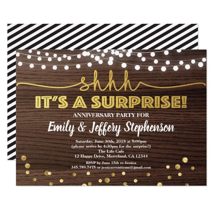 Surprise Anniversary Party Invitation