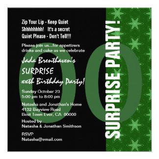SURPRISE Any Year Birthday Green Stars G320A Invitation