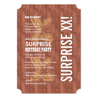 SURPRISE Any Year Birthday Reddish Wood A02A Card