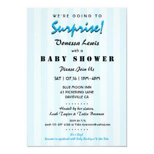 Marvelous Surprise Baby Shower Blue Stripes Invitation