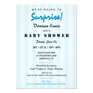Awesome Surprise Baby Shower Blue Stripes Invitation
