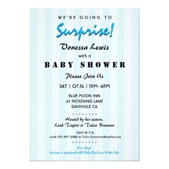 Surprise Baby Shower Blue Stripes Invitation Zazzle