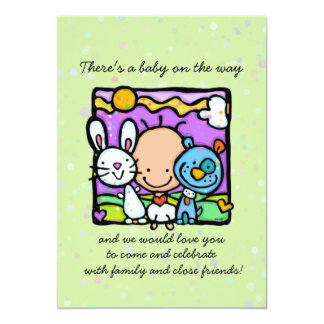 Surprise baby shower invitation.Bunny.Puppy.Hearts 5x7 Paper Invitation Card