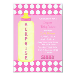 Baby bottle invitations announcements zazzle surprise baby shower invitation pink baby bottle filmwisefo Gallery