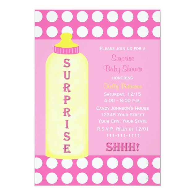 Surprise Baby Shower Invitation Pink Baby Bottle