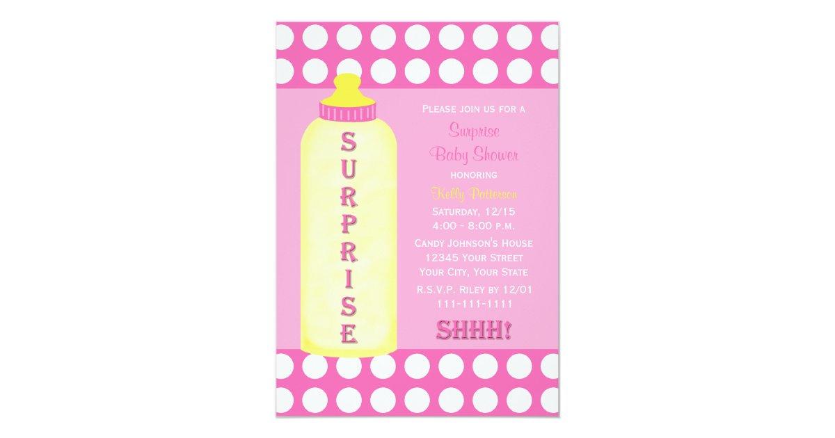 Surprise Baby Shower Invitation Pink Baby Bottle   Zazzle.com