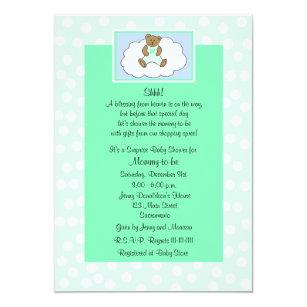 Surprise baby shower invitations zazzle surprise baby shower invitation teddy on green filmwisefo