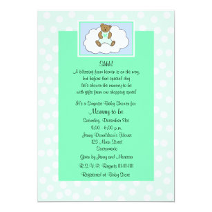 Surprise Baby Shower Invitation   Teddy On Green